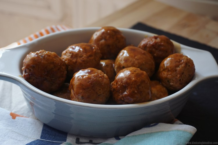Gluten free cheesy pork meatballs with gravy