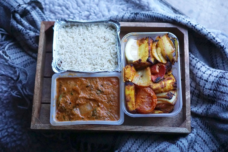Tandoori paneer kebab, chicken curry and pilau rice from The Tiffin Tin in Tuffnell Park, North London | Gluten free Finsbury Park | Gluten free takeaways in North London