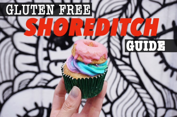Gluten free cupcake with colourful icing and a mini doughnut on top from Vida Bakery in Shoreditch | Gluten free Shoreditch guide | Gluten free London | Hoxton | Liverpool Street | Spitalfield | Old Street | East London | a gluten free Shoredtich guide by Kimi Eats Gluten Free