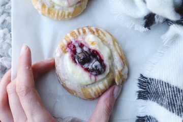 Gluten free cream cheese Danish pastries with lemon glaze and morello cherries | Made with Jus Rol gluten free puff pastry
