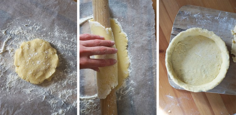 How to roll gluten free shortcrust pastry, transfer it into a pie dish and prick holes with a fork