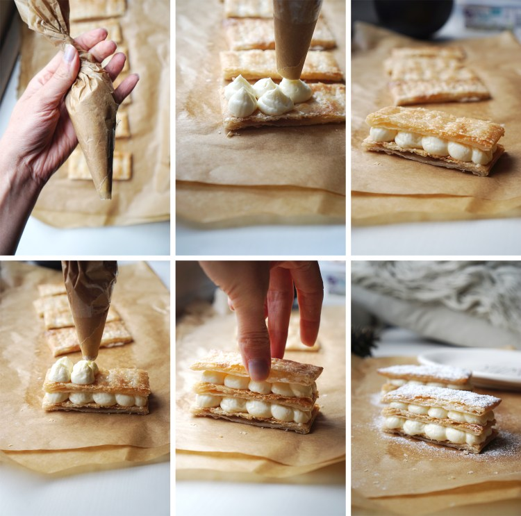 How to make cream cheese mille feuille with Jus Rol gluten free puff pastry / piping the sweetened cream cheese
