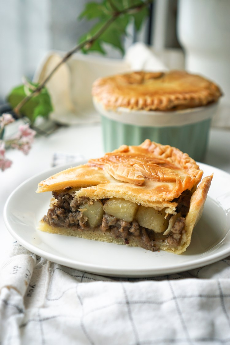 Gluten free meat and potato pies with homemade shortcrust pastry / traditional Quebec tourtieres / Beef, pork and potato pies