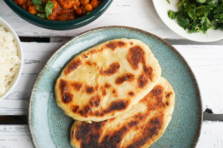 Homemade gluten free naan bread using ASDA's free from gluten free flour