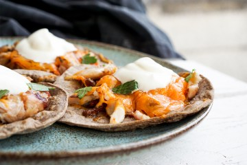 Gluten free taco shells made with banana flour / with barbecued chicken, cheese, salsa, hot sauce and sour cream / grain free wraps, taco shells and roti