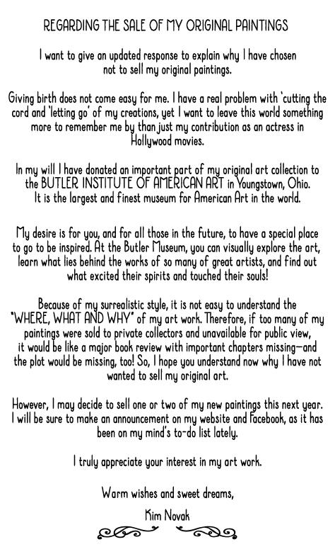 Kim Novak - Statement regarding the sale of her original paintings, July 2017