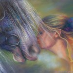 limited edition prints by Kim Novak - Devotion: Original Painting of a blonde woman kissing a horse on the nose in pastel over watercolor by Kim Novak