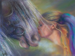 """""""Devotion,"""" Original Painting of a blonde woman kissing a horse on the nose in pastel over watercolor by Kim Novak"""