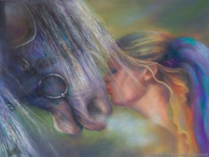 """Devotion,"" Original Painting in pastel on watercolor by Kim Novak"