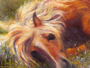 """Horse Heaven,"" Original pastel painting of a Haflinger horse rolling in a field of forget-me-nots by Kim Novak"