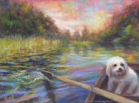 Life is But a Dream, Original Painting of a river scene from the point of view of the person rowing a bat, with a small white dog in the bow. Pastel over watercolor by Kim Novak. Copyright 2014 Kim Novak. All rights reserved.