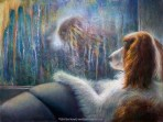 """Reflections,"" Original Painting in of a dog looking at its reflectino in the window on a rainy day by Kim Novak"