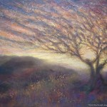 limited edition prints by Kim Novak - They Danced till Dawn: Original Painting of two trees dancing on a hillside in pastel over watercolor by Kim Novak. Copyright 2014 Kim Novak. All rights reserved.