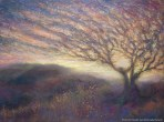 They Danced Till Dawn, Original Painting of two trees dancing on a hillside in pastel over watercolor by Kim Novak. Copyright 2014 Kim Novak. All rights reserved.