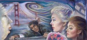 "Vertigo / Vortex of Delusion,"" Original Painting by Kim Novak capturing the essence of the 1958 Alfred Hitchcock movie Vertigo, in which the artist starred with Jimmy Stewart. Copyright 2014 Kim Novak. All rights reserved."