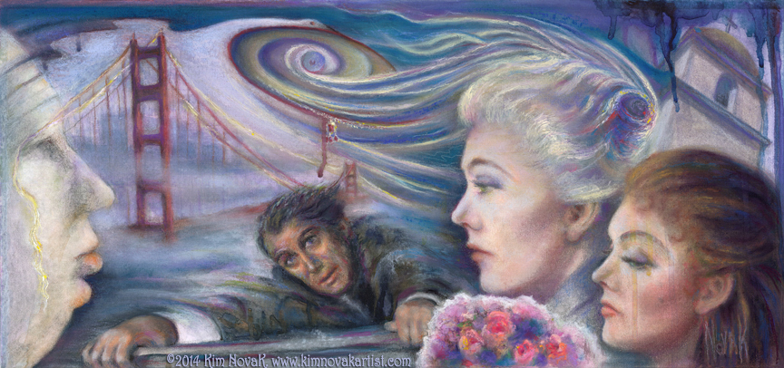 "Vertigo / Vortex of Delusion,"" Original Painting by Kim Novak capturing the essence of the 1958 Alfred Hitchcock movie Vertigo, in which the artist starred with Jimmy Stewart. Copyright 2014 Kim Novak. All rights reserved."