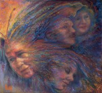 """The Blue Bird Tattoo"" pastel over watercolor painting by Kim Novak, ©2014. Tribute to Kim Novak's grandmother, an impressionistic vision of their relationship, showing the faces of Kim Novak and her grandmother. Accompanied by this poem: ""Under her wing, with a blue bird beside me. tattooed on her arm, always there to remind me; the courage it took to stand up to those bullies, shouting, ""disgrace!"" as if she had sinned. Much time has gone by, now tattoos are in fashion Bullies still do what they do with their passion. I honor my parents and my sister too, especially my grandma with the blue bird tattoo!"" ~Kim NovaK Painting image and poem ©2014 Kim Novak, all rights reserved."