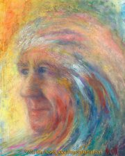 A Wave of Memories - A Hand Full of Feelings, painting (portrait of the late Robert Malloy) by Kim Novak