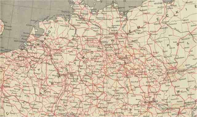 Mapa kolei żelaznych w Europie