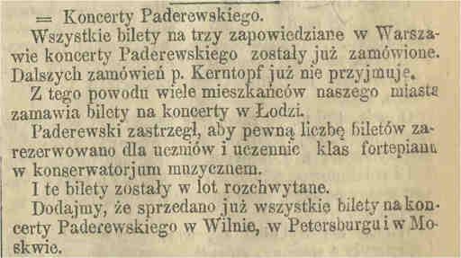 Jan Kerntopf – opiekun Ignacego Paderewskiego Koncerty
