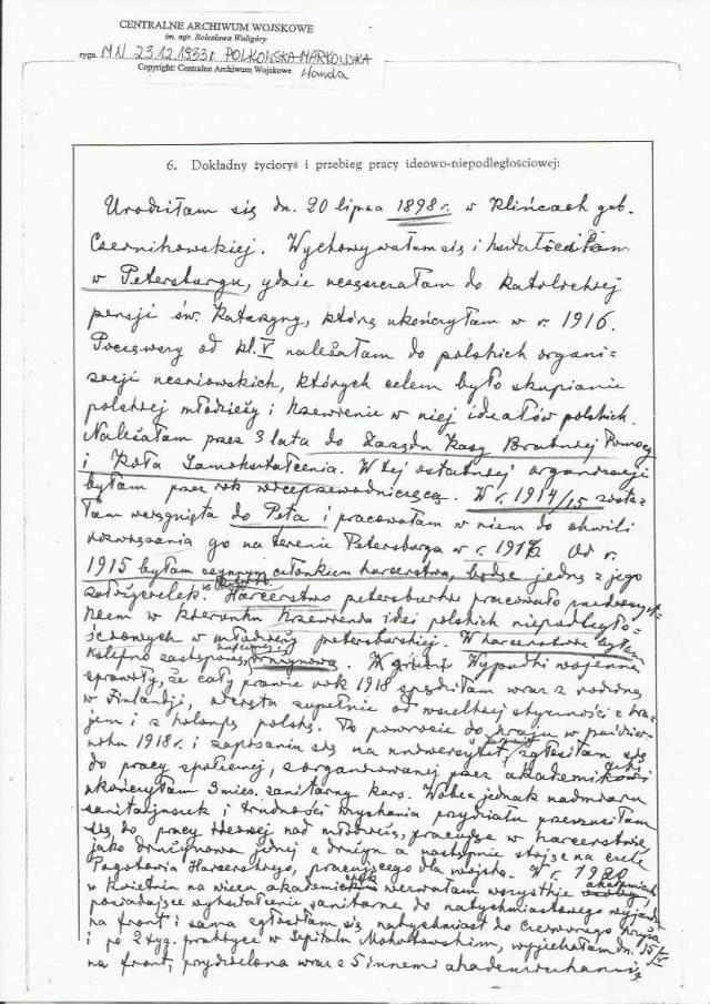 Wanda Polkowska-Markowska Wnioski o Medal Niepodległości 1
