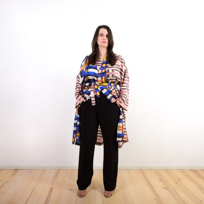 Seiden-Kimono   Grafisches Muster   Credits: KimonoManufaktur