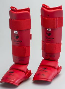 KARATE SHIN/FOOT GUARD, TOKAIDO, WKF APPROVED, RED 1
