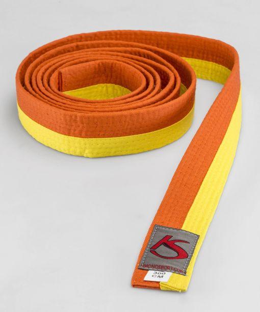 cinturón amarillo - naranja para artes marciales apto para competir