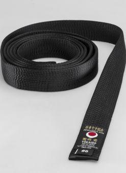 Ceinture en soie noire Tokaido JKA avec tissu artificiel
