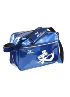 bolsa azul de charol mizuno kani judo con toques blancos