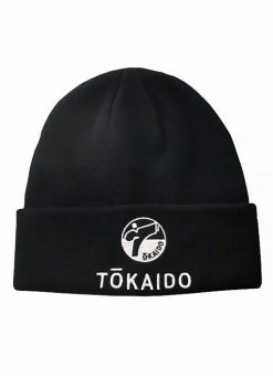 gorro tokaido negro con simbolo en blanco de la marca