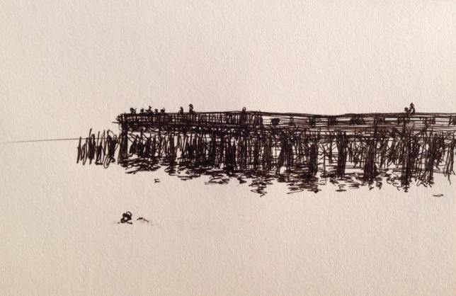 Hastings Pier with Swimmer 2017