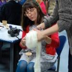 Haley spinning yarn.