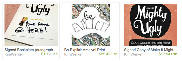screenshot of Etsy shop