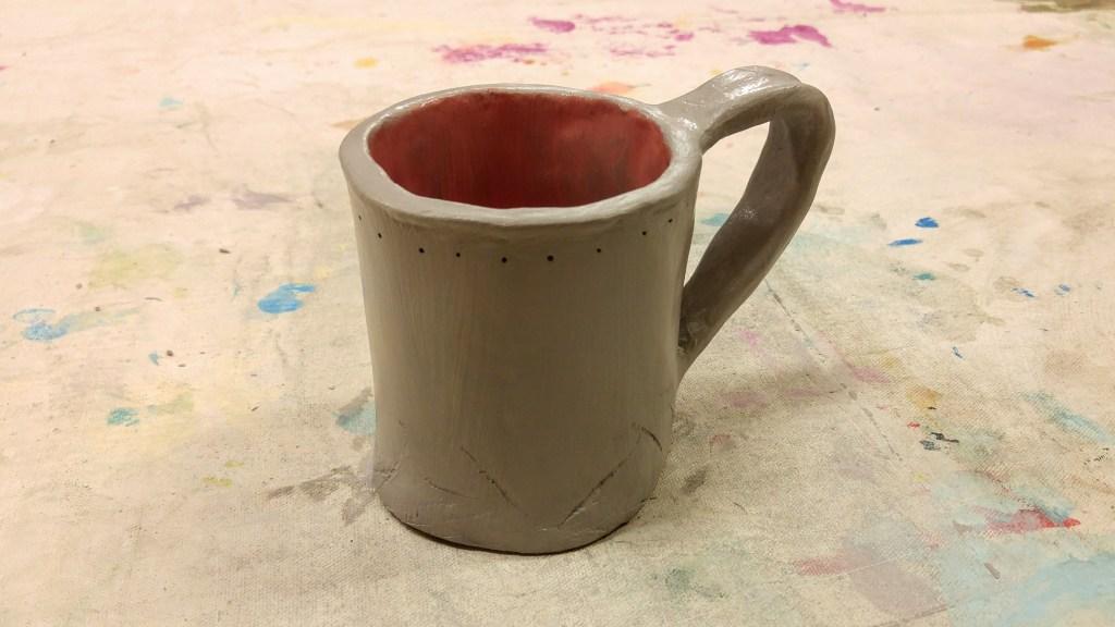 Handmade clay mug.