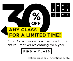 Get 30% off any class at CreativeLive!