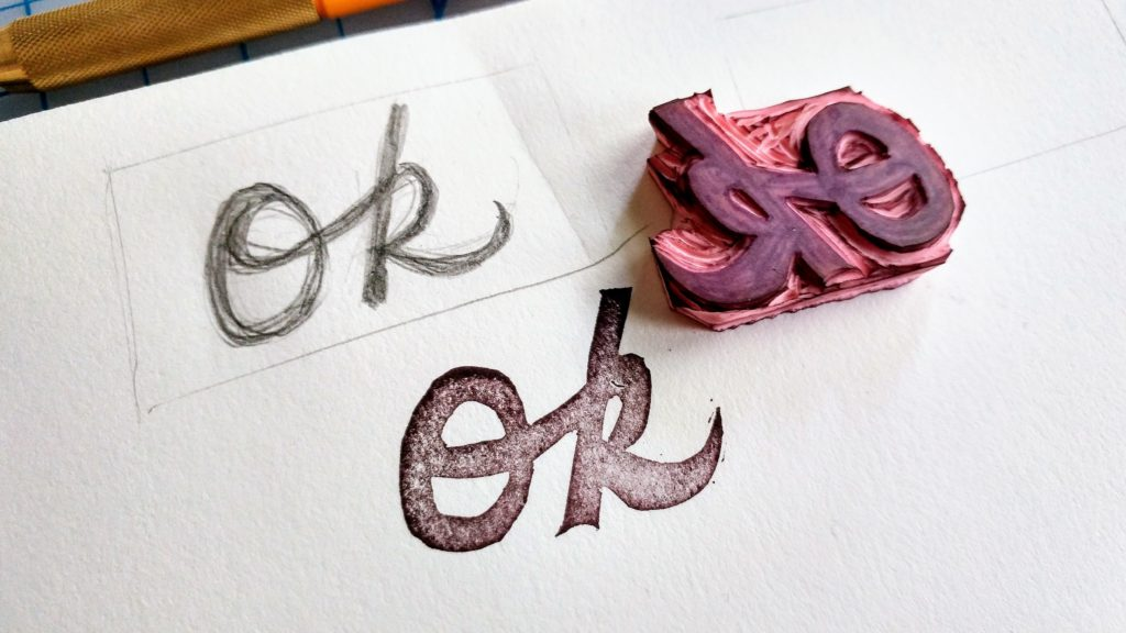 Carve a stamp that says it all: Ok! https://classes.kimwerker.com/courses/stamp-camp