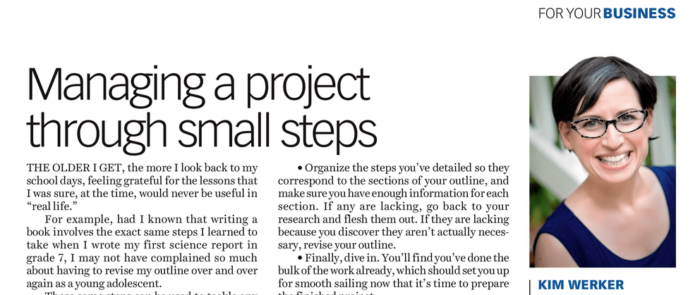 Managing a writing project through small steps, by Kim Werker – Costco Connection July-August 2018