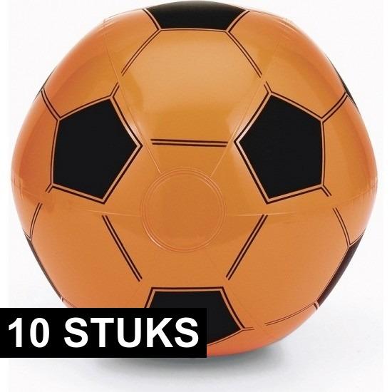10x Strandbal wit met oranje voetbal