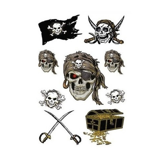 27x Piraten thema stickers met glitters