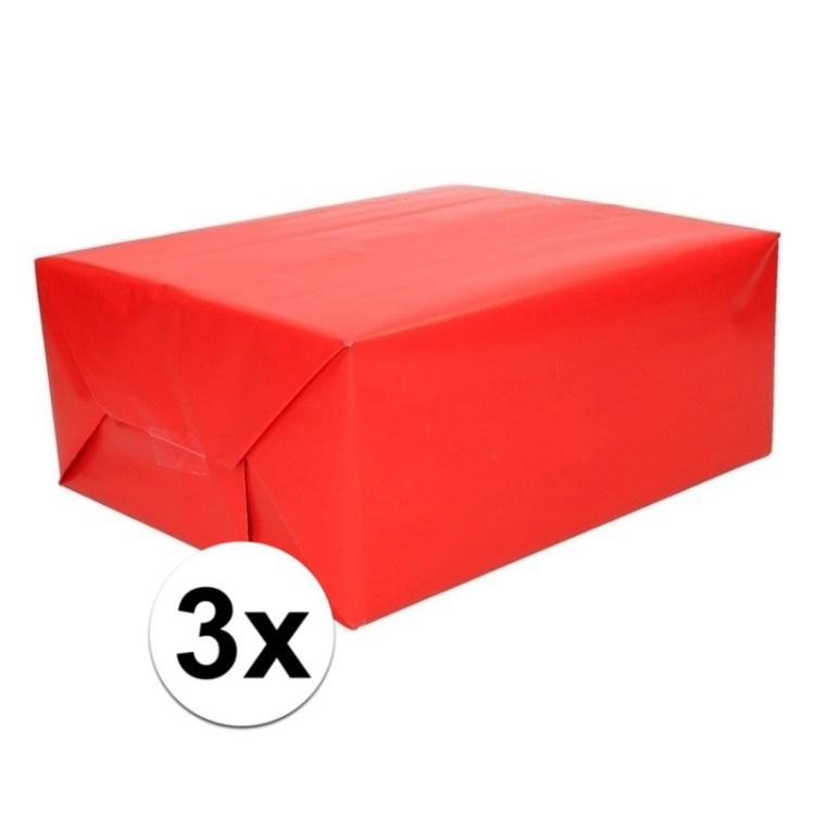 3x Kadopapier rood op rol