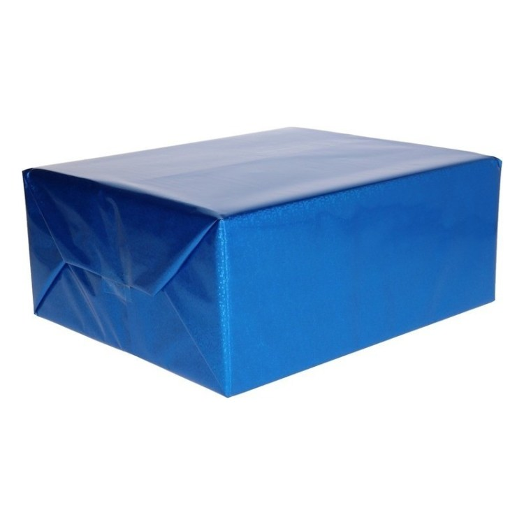 Blauwe metallic glitterfolie 150 cm