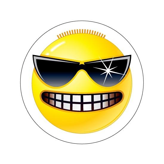 Gele Stoere Smiley stickers type 3