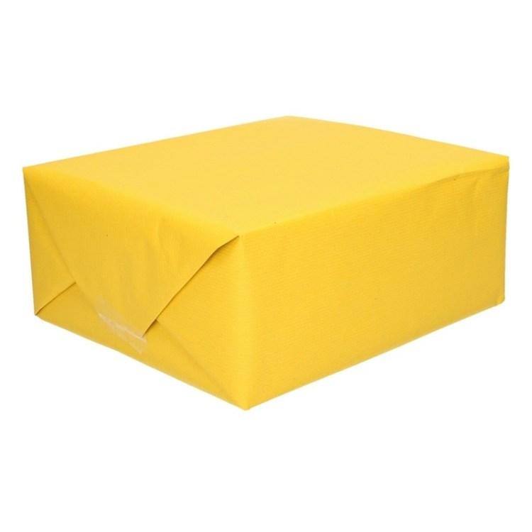 Inpakpapier/cadeaupapier geel kraftpapier 200 x 70 cm rol