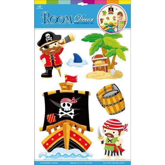 Kinder muurstickers piraten 6 stuks