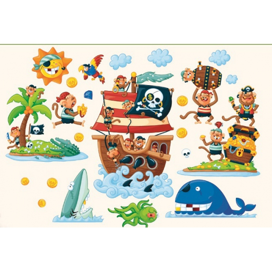 Kinder muurstickers pirateneiland