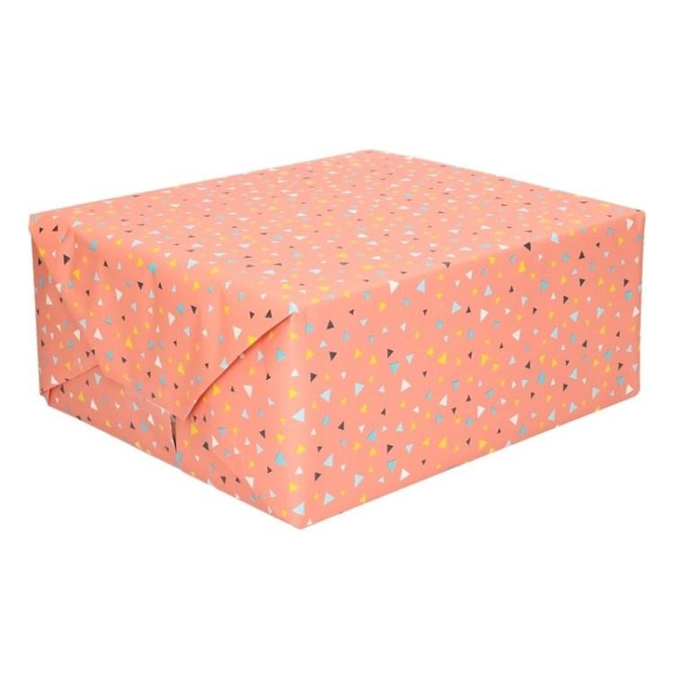 Koraal kleur papier met driehoekjes op rol 200 cm