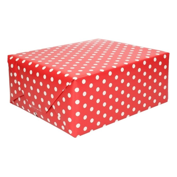 Rood papier met stip op rol 200 cm