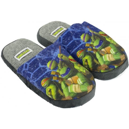 Warme kinder pantoffels Turtles blauw
