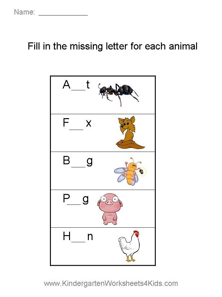 Missing Letter Worksheets Animals